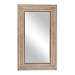 Ridge Road Décor Extra-Large Carved Wood Wall Mirror in Brown/White