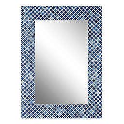 Ridge Road Décor Shell Mosaic Wall Mirror in Blue