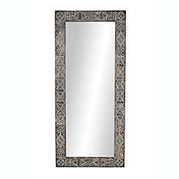 Ridge Road Décor Extra-Large Hand-Carved Wood Wall Mirror in Espresso/Whitewash