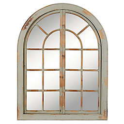 Ridge Road Décor Country Cottage Wooden Window Mirror in Grey