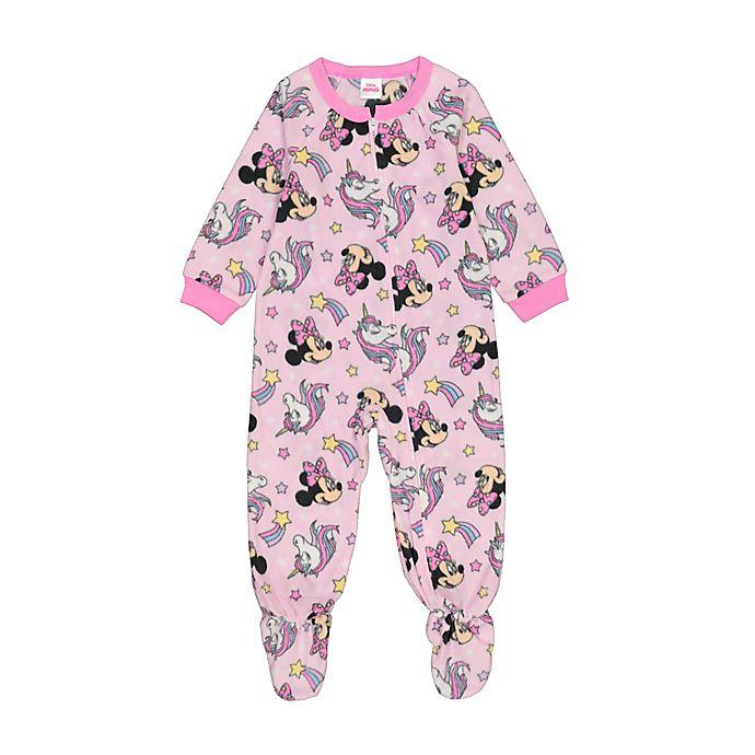 Alternate image 1 for Disney® Minnie Mouse Unicorn Star Microfleece Footie Pajama in Pink