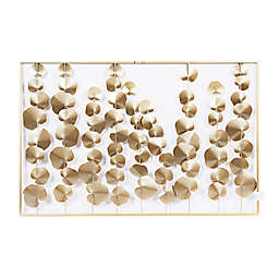 Ridge Road Décor Large Metal Rectangular 26-Inch x 40-Inch Wall Decor in White/Gold