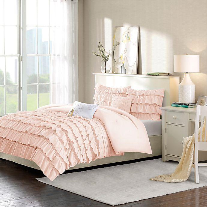 Alternate image 1 for Intelligent Design Waterfall 5-Piece Full/Queen Reversible Comforter Set in Blush