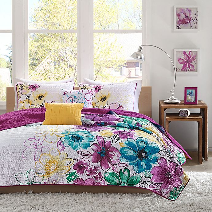 Alternate image 1 for Olivia Twin/Twin XL Coverlet Set in Fuchsia