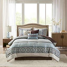Madison Park Princeton 7-Piece Queen Comforter Set in Blue