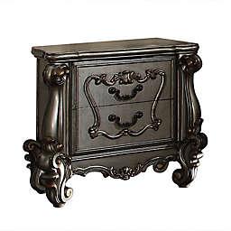 Raised Scrolled Trim 2-Drawer Wooden Nightstand in Antique Platinum