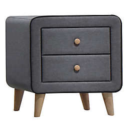 Benzara 2 Drawer Fabric Upholstered Wood Nightstand in Grey