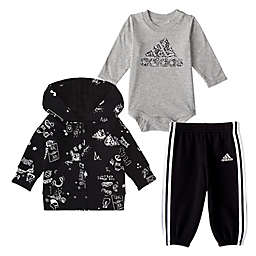 adidas® 3-Piece Doodle Fleece Jacket, Shirt, and Pant Set