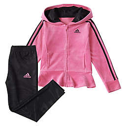 adidas® Velour Hooded Jacket & Marble Legging Set in Pink