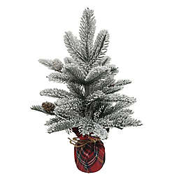14-Inch Flocked Pine Tree in Plaid Base