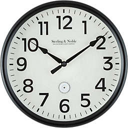 Sterling & Noble™ LED Lighted Dial 12-Inch Outdoor Wall Clock in Matte Black