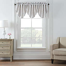 Waterford® Belline Cascade Damask Jacquard Window Valances in Silver (Set of 3)