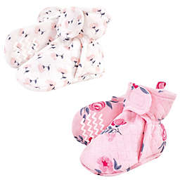 Hudson Baby® Size 6-12M 2-Pack Floral Quilted Booties