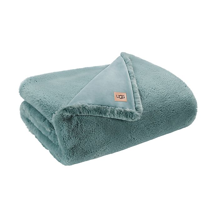 Alternate image 1 for UGG® Mammoth Faux Fur Throw Blanket in Jade