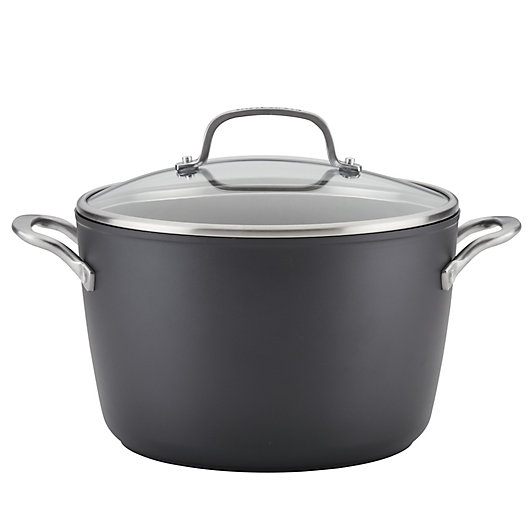 Alternate image 1 for Kitchenaid® Nonstick 8 qt. Hard-Anodized Covered Stock Pot in Black