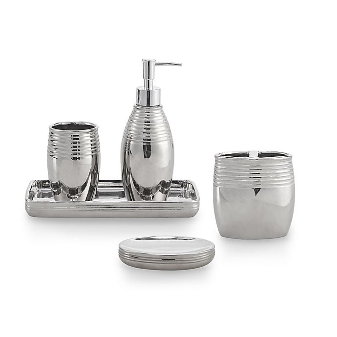 Alternate image 1 for Metallic Striped 5-Piece Bath Ensemble in Silver Plated