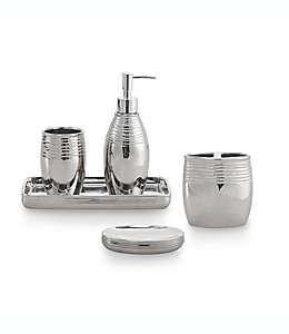 Set de accesorios de baño de cerámica Celebrate Home Merlin con acabado metálico plata, 5 piezas