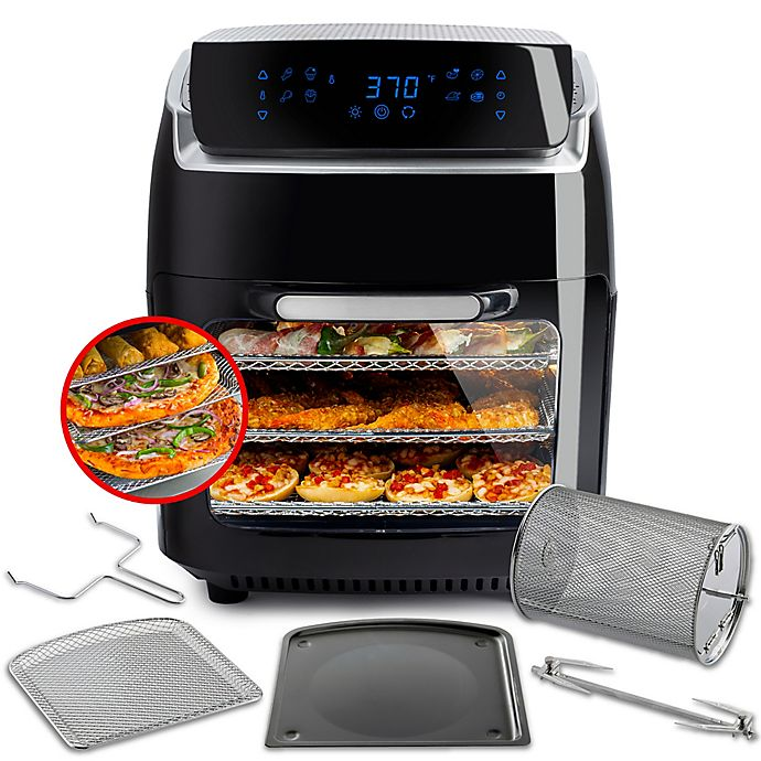 Alternate image 1 for Modernhome Aria 10 qt. Air Fryer with Accessory Set in Black