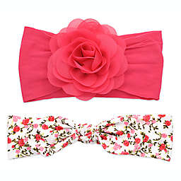Khristie® 2-Pack Rose and Floral Bow Headbands in Fuchsia