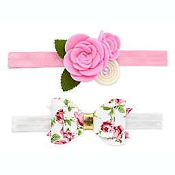 Khristie® 2-Pack Felt Rose and Print Bow Headbands in Pink