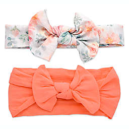 Khristie® 2-Pack Floral and Coral Bow Headbands