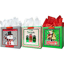 Assorted Medium Square Shadow Bags with Tissue Paper