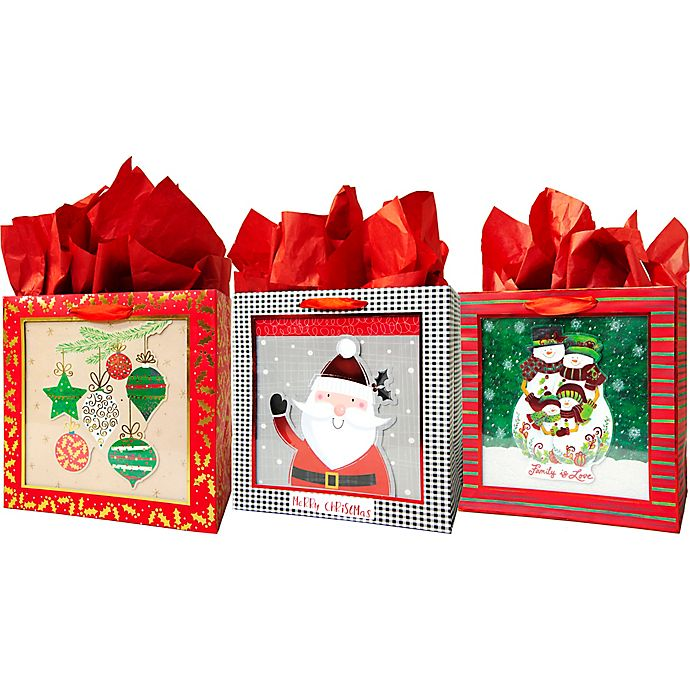 Alternate image 1 for Assorted Large Square Shadow Bags with Tissue Paper
