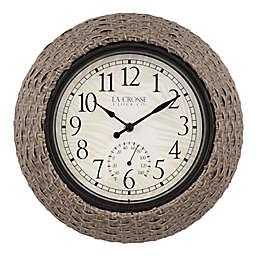La Crosse Technology 14-Inch Weaver Indoor/Outdoor Wall Clock with Temperature