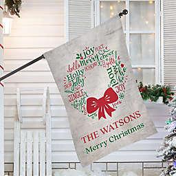 Merry Mistletoe Wreath House Flag