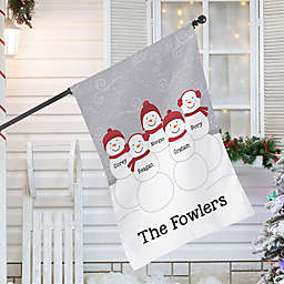 Snowman Family Personalized Christmas House Flag