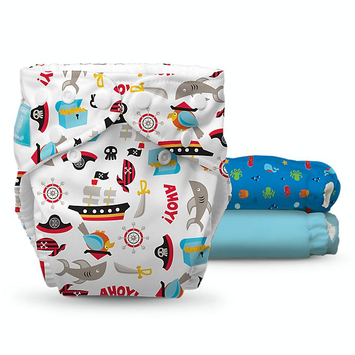 Alternate image 1 for Charlie Banana® 9-Piece Patented Reusable One Size Hybrid AIO Diapers in Ocean