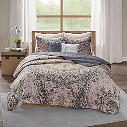 Intelligent Design Odette 5-Piece Full/Queen Reversible Coverlet Set in Pink/Grey