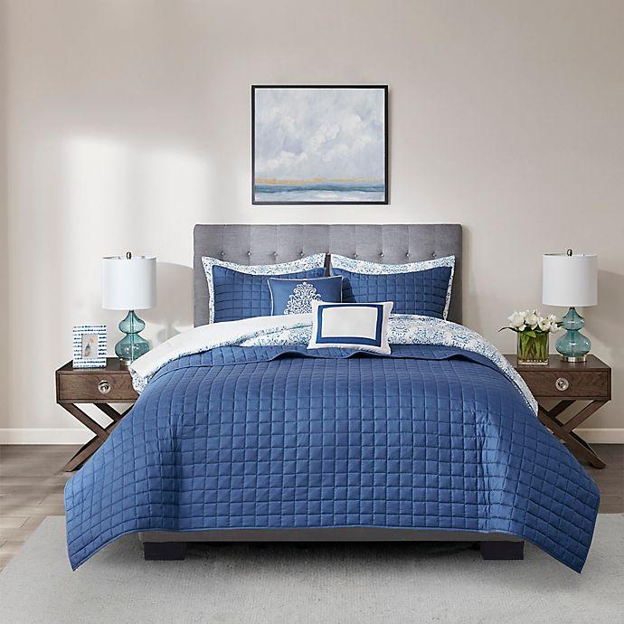 Alternate image 1 for Madison Park® August Seersucker 8-Piece Full/Queen Comforter and Coverlet Set in Blue