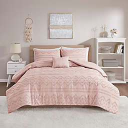 Intelligent Design Annie Solid Clipped Jacquard 3-Piece Twin/Twin XL Duvet Cover Set in Blush