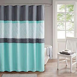 510 Design Donnell 72-Inch x 72-Inch Shower Curtain in Aqua/Grey