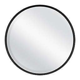18-Inch Round Metal Wall Mirror in Black