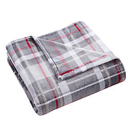 Morgan Home Carrington Plaid Velvet Plush Throw Blaket in Grey