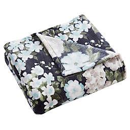 Morgan Home Grace Floral Velvet Plush Throw Blanket in Blue