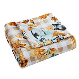 Morgan Home Fall Pumpkin Haul Velvet Plush Throw Blanket in Orange