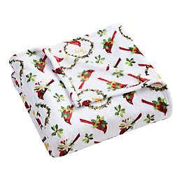 Morgan Home Christmas Joy Cardinal Throw Blanket in Red