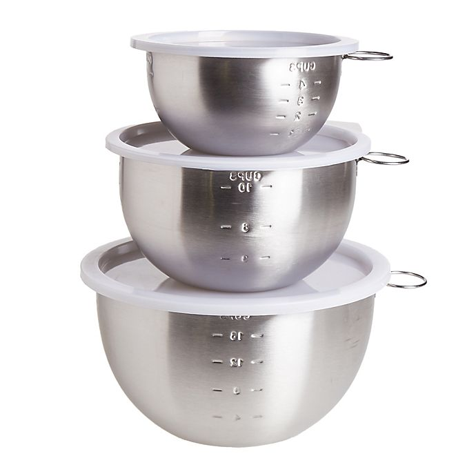 Alternate image 1 for Simply Essential™ Stainless Steel Mixing Bowls with Lids (Set of 3)