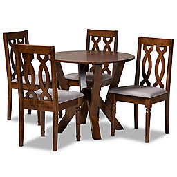 Baxton Studio Halima 5-Piece Dining Set in Grey/Walnut