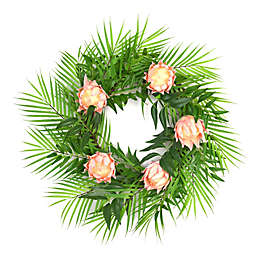W Home 23-Inch Greenery Protea Wreath with Wood Crate Box
