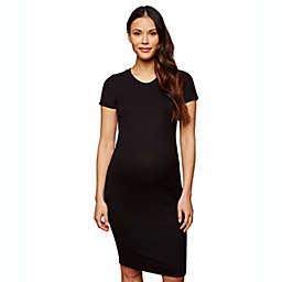 Motherhood Maternity® X-Small Rib Knit Maternity T-Shirt Dress in Black