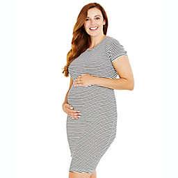 Motherhood Maternity® Medium Rib Knit Maternity T-Shirt Dress in White