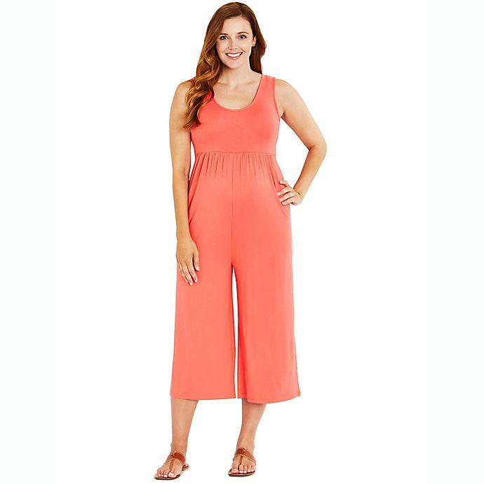 Alternate image 1 for Motherhood® Maternity Cropped Jumpsuit in Black