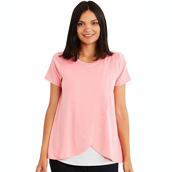 Alternate image 1 for A Pea in the Pod Medium Pull Over Open Front Nursing Tee in Coral
