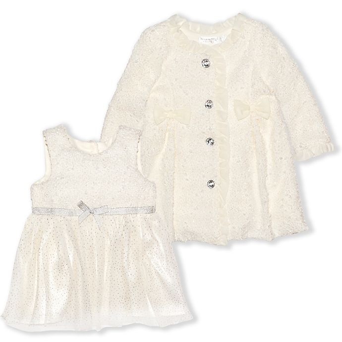 Alternate image 1 for Nannette Baby® 2-Piece Knit Metallic Coat and Dress Set in Cream