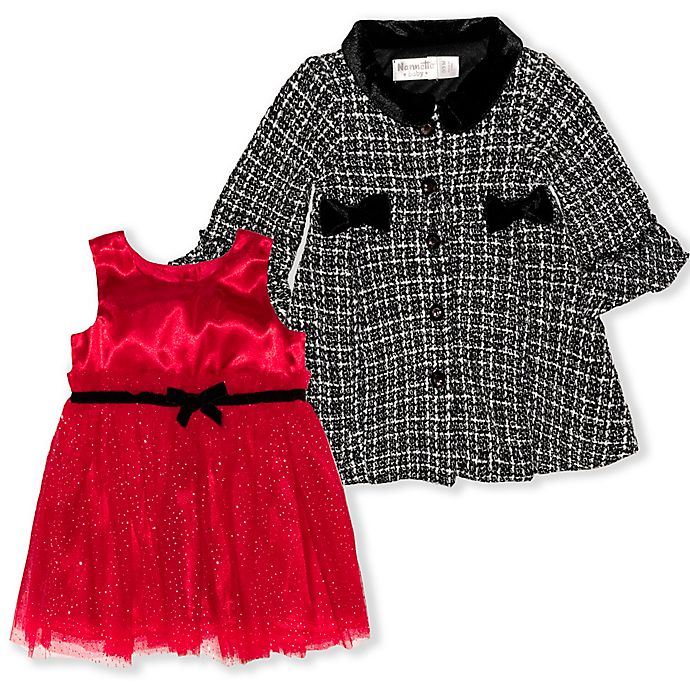 Alternate image 1 for Nannette Baby® Jacket with Red Satin Bodice Dress 2-Piece Set