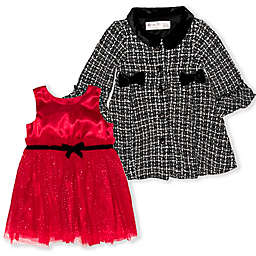 Nannette Baby® Jacket with Red Satin Bodice Dress 2-Piece Set